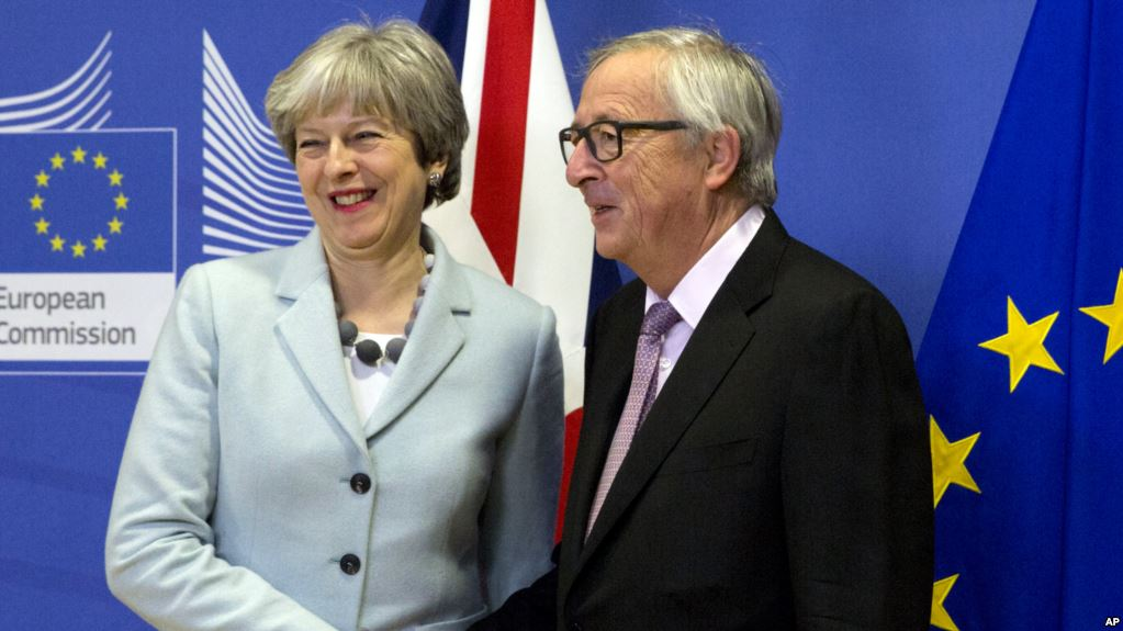 british prime minister teresa may meets with jean claude juncker european commission president at the eu headquarters in brussels